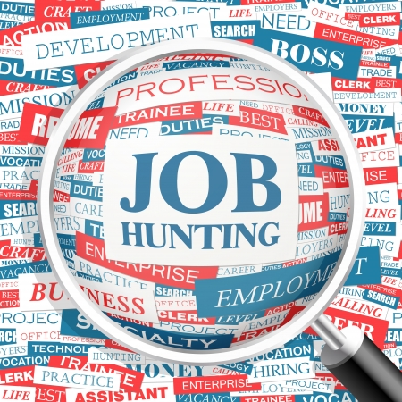 JOB HUNTING  Word cloud concept illustration  Vector