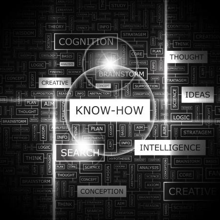 knowledge: KNOW-HOW Word Cloud Konzept Illustration Illustration
