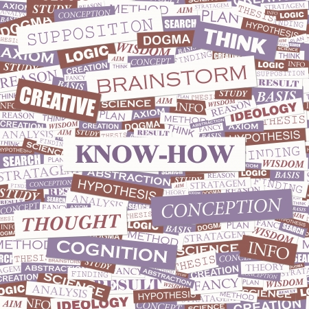 KNOW-HOW  Word cloud concept illustration  Vector