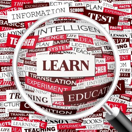 corsi di formazione: IMPARARE Word cloud concetto illustrazione