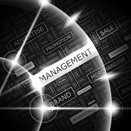MANAGEMENT  Word cloud concept illustration  Vector
