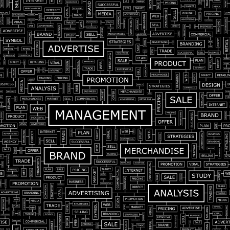 MANAGEMENT Word Cloud Konzept Illustration