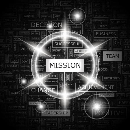 MISSION  Word cloud concept illustration   イラスト・ベクター素材