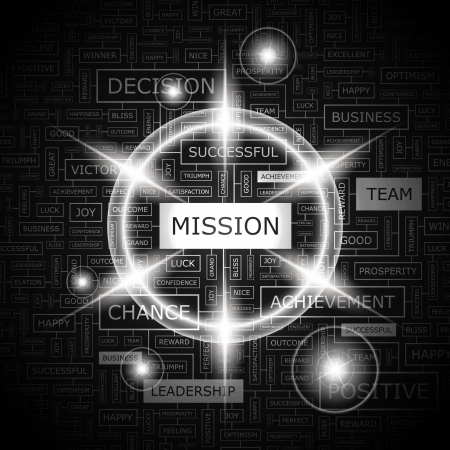 MISSION  Word cloud concept illustration  Vector