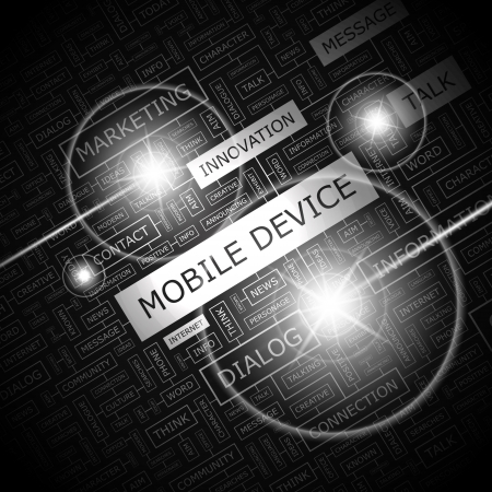 MOBILE DEVICE  Word cloud concept illustration  Vector