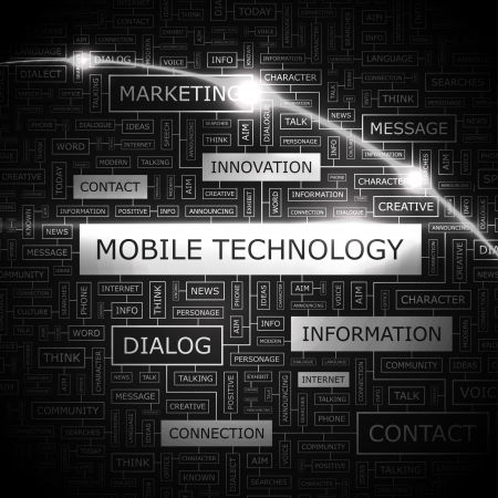 MOBILE TECHNOLOGY  Word cloud concept illustration  Vector