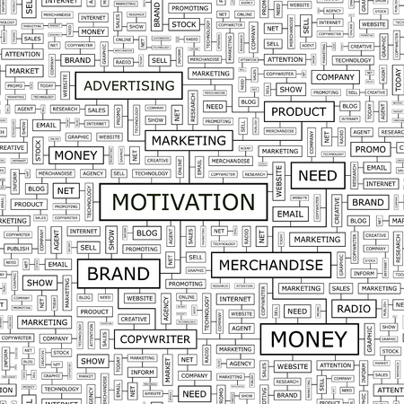 MOTIVATION  Word cloud concept illustration  Vector