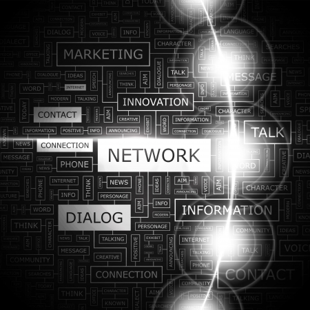 NETWORK  Word cloud concept illustration  Vector