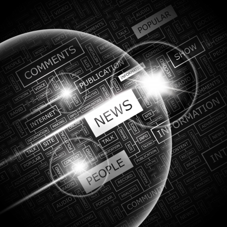 news event: NEWS  Word cloud concept illustration