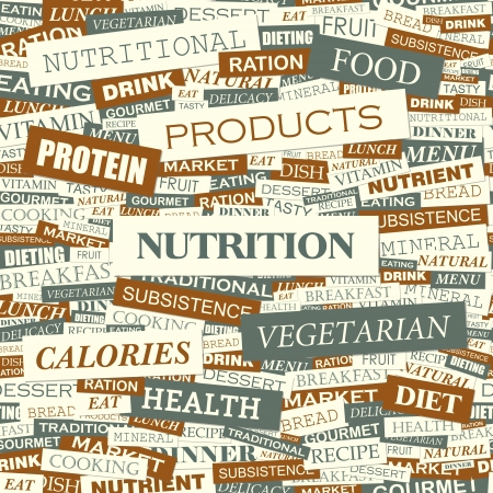 health collage: NUTRITION  Word cloud concept illustration  Illustration