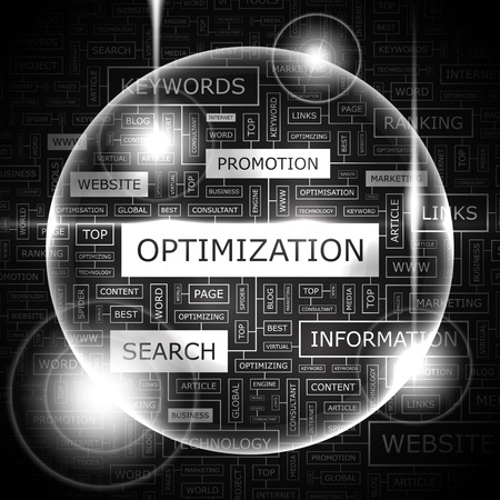 OPTIMIZATION  Word cloud concept illustration  Vector