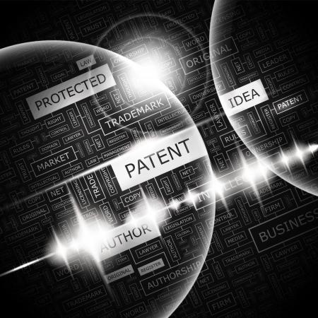 특허 단어 구름 개념 그림 일러스트