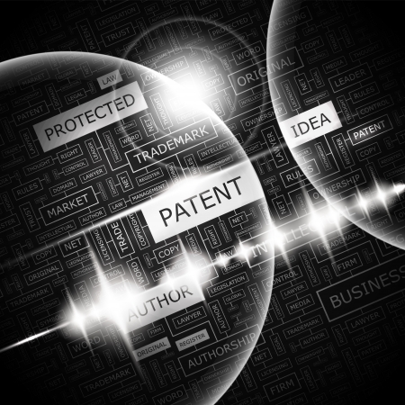 trademark: PATENT  Word cloud concept illustration  Illustration