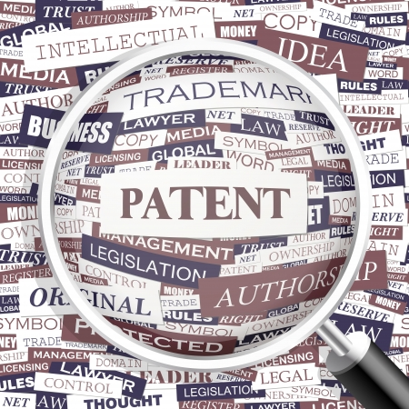 patent: PATENT  Word cloud concept illustration  Illustration