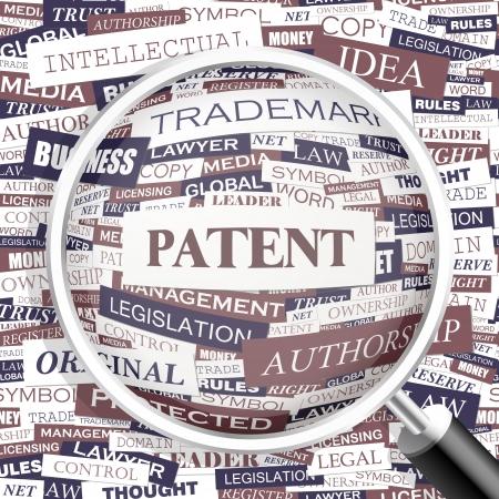 patent: PATENT  Word cloud concept illustration  Illustration