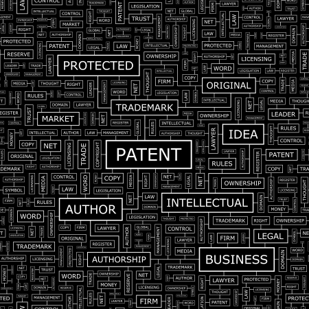PATENT  Seamless pattern  Word cloud illustration  Vector illustration  Vector