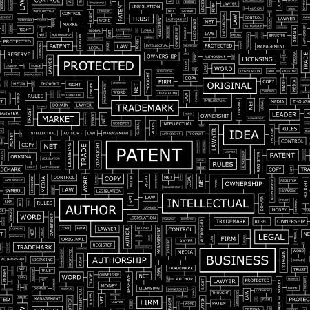 patent: PATENT  Seamless pattern  Word cloud illustration  Vector illustration