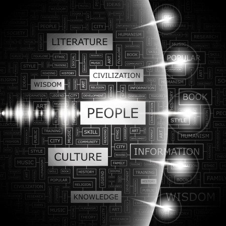 PEOPLE  Word cloud concept illustration  Vector