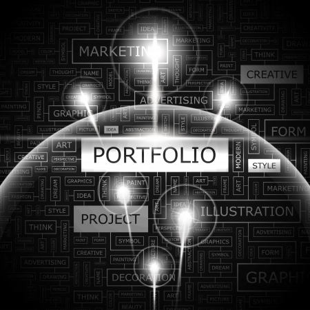 website words: PORTFOLIO  Word cloud concept illustration