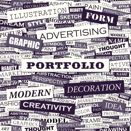 PORTFOLIO  Word cloud concept illustration  Vector