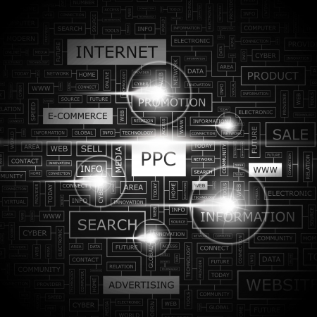 PPC  Word cloud concept illustration  Vettoriali
