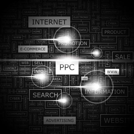 PPC  Word cloud concept illustration  Illustration