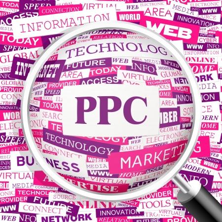 advertiser: PPC Word cloud concetto illustrazione
