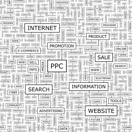 ppc: PPC  Word cloud concept illustration  Illustration