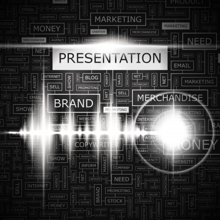 PRESENTATION  Word cloud concept illustration  Vector