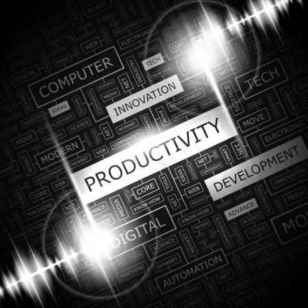productividad: PRODUCTIVIDAD Palabra nube concepto ejemplo Vectores