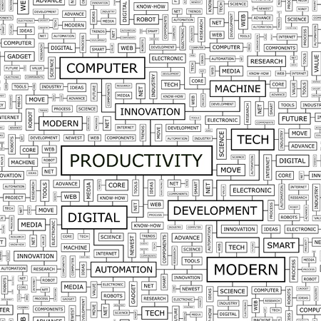 PRODUCTIVITY  Word cloud concept illustration  Vector