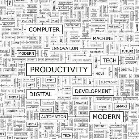 productivity: PRODUCTIVITY  Word cloud concept illustration