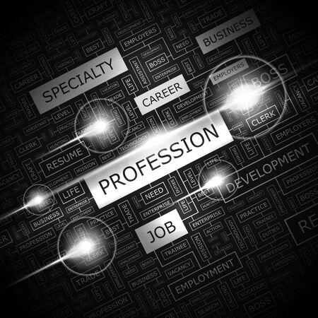 PROFESSION  Word cloud concept illustration  Stock Vector - 20629454