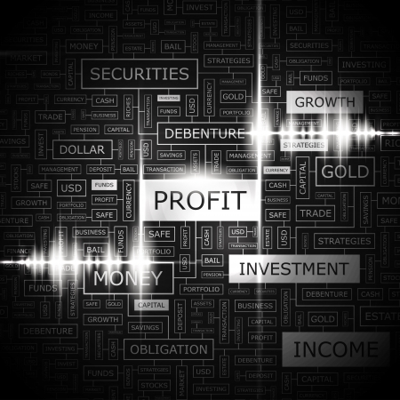 PROFIT  Word cloud concept illustration  Vector
