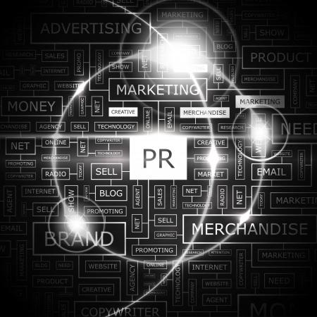 PR  Word cloud concept illustration