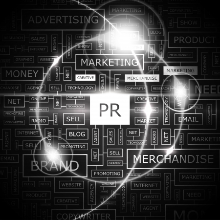 PR  Word cloud concept illustration  Vector