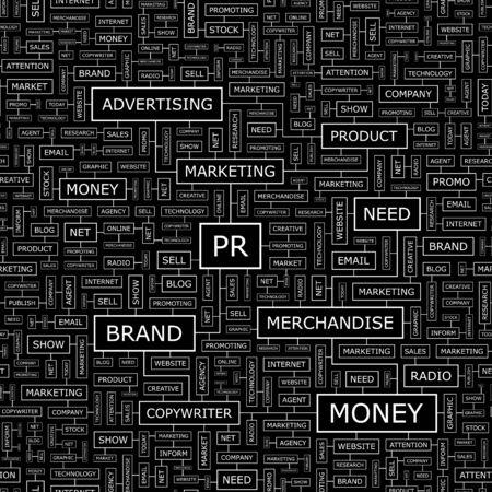 pr: PR  Word cloud concept illustration