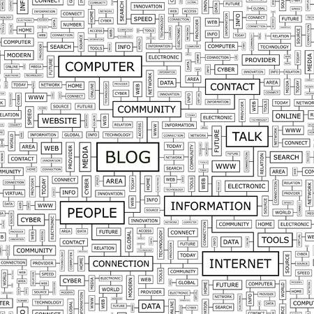 weblog: BLOG  Word cloud concept illustration