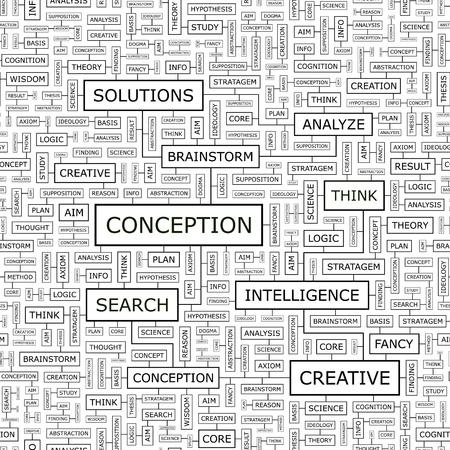 CONCEPTION  Word cloud concept illustration  Vector
