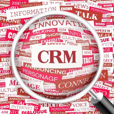 CRM  Word cloud concept illustration  Vector