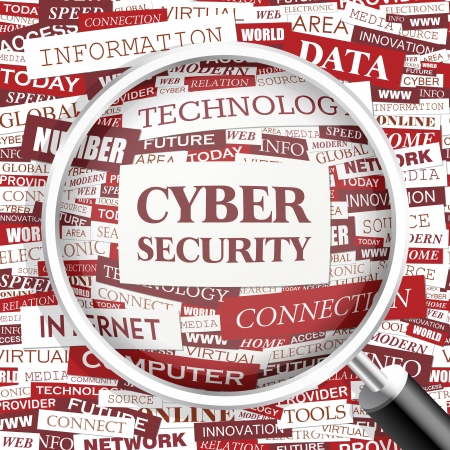 CYBER SECURITY Word cloud concept illustratie Stock Illustratie