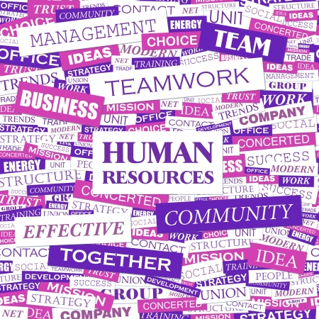 job recruitment: HUMAN RESOURCES  Word cloud concept illustration