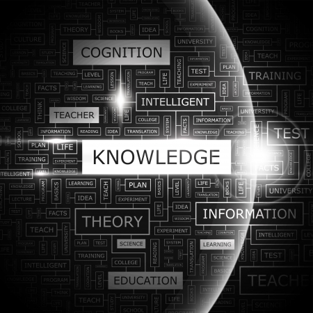technology collage: KNOWLEDGE  Word cloud concept illustration