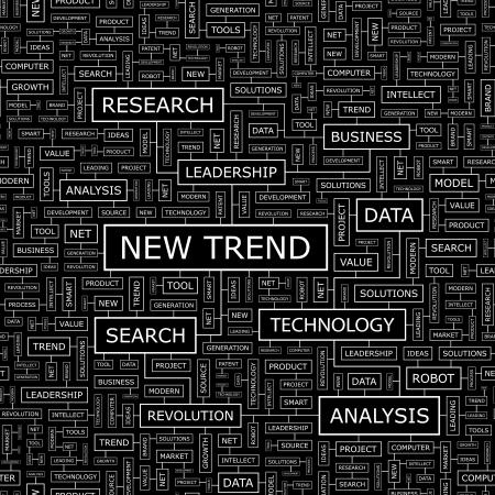 mercado: NEW TREND Word cloud conceito ilustra Ilustração