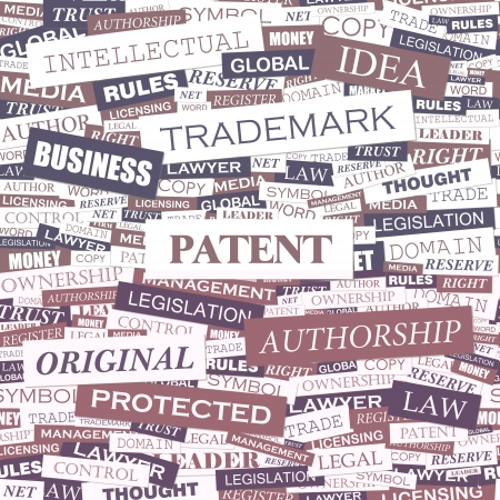PATENT  Word cloud concept illustration  Vector