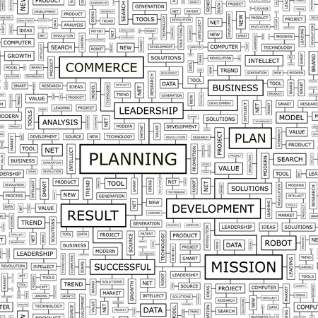 PLANNING  Word cloud concept illustration Stock Vector - 20105030