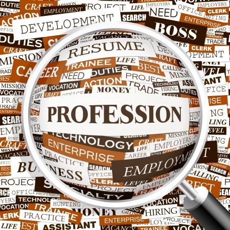 PROFESSION  Word cloud concept illustration    Vector