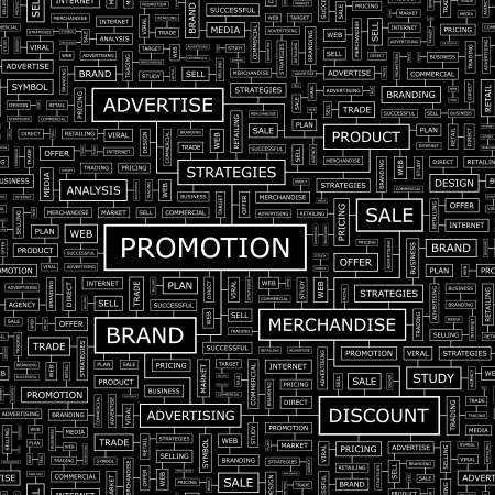 PROMOTION  Word cloud concept illustration    Vector