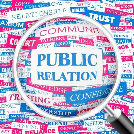 public relations: PUBLIC RELATION  Word cloud illustration  Tag cloud concept collage  Vector illustration  Illustration