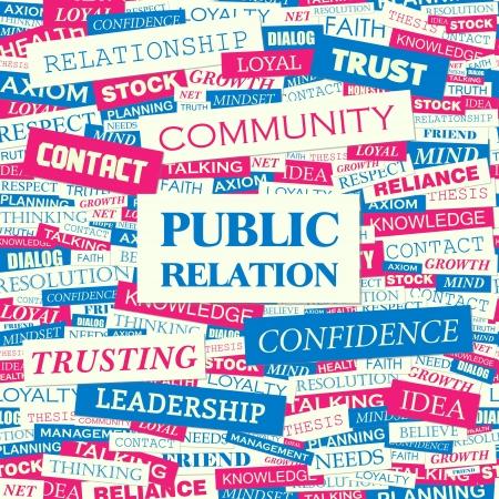 public relations: PUBLIC RELATION  Word cloud concept illustration  Illustration